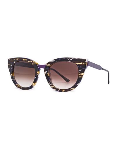 Snobby Cat-Eye Sunglasses, Purple/Brown