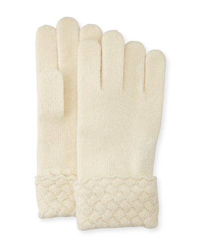 Cashmere Basketweave Trim Tech Gloves, Ivory