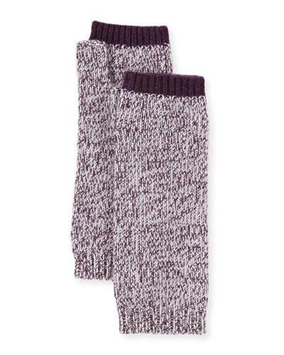 Marled Cashmere Fingerless Gloves/Arm Warmers, Plum