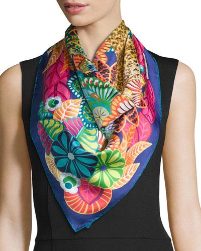 Nilde Floral Square Silk Scarf, Multicolor