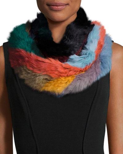 Rabbit Fur Infinity Scarf, Multicolor