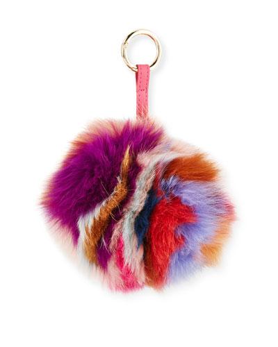 Super Swirl Fox Fur Pompom Charm, Multicolor