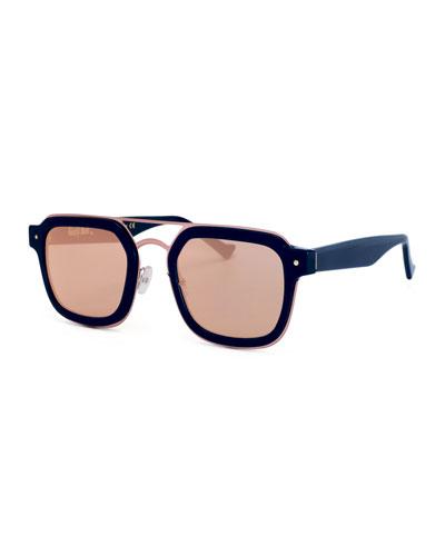 Notizia Square Mirrored Sunglasses, Blue/Pink