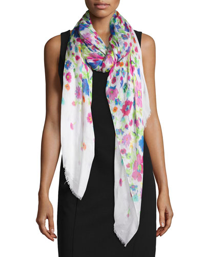 Chine Gardens Printed Scarf, White