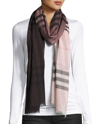 Ombre Giant Check Scarf, Ash/Rose