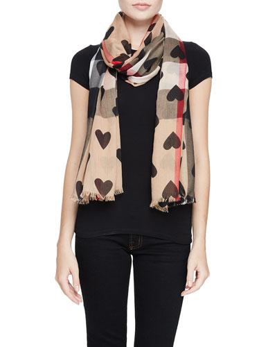 Heart & Check Oversize Scarf, Camel/Black