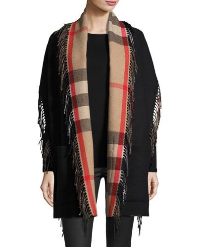 Helene Fringed Check-Lined Wool-Cashmere Stole