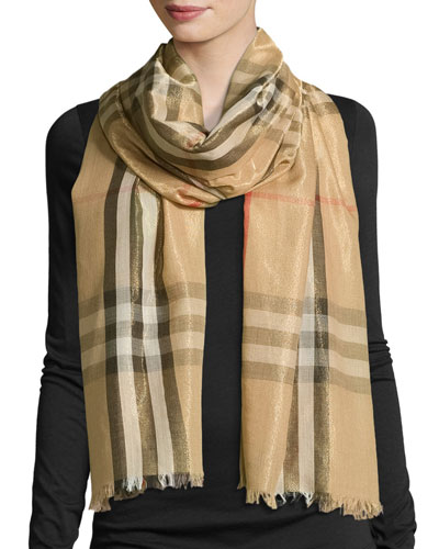Metallic Gauze Giant Check Scarf, Camel/Gold