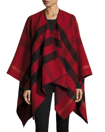 Charlotte Reversible Wool Felt Cape, Parade Red