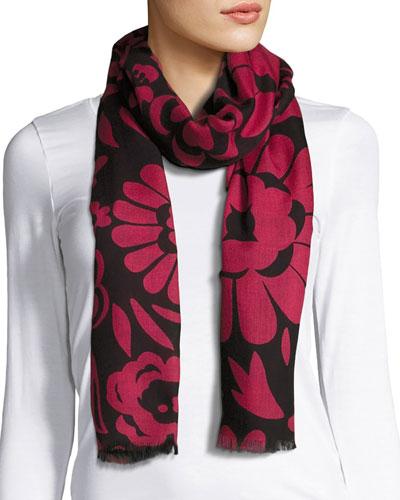 Large Floral Cashmere Scarf, Black/Pink