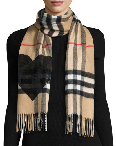 Giant Check Sequin Heart Cashmere Scarf, Camel/Black