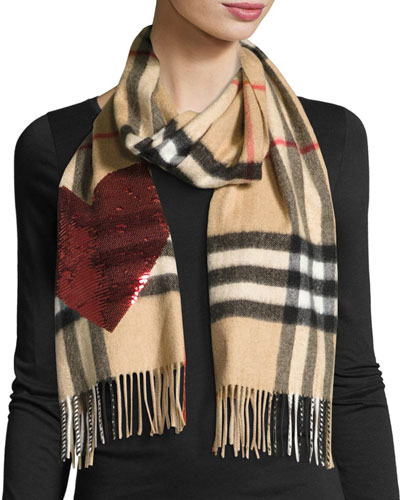 Sequin Heart Check Cashmere Scarf, Camel Red