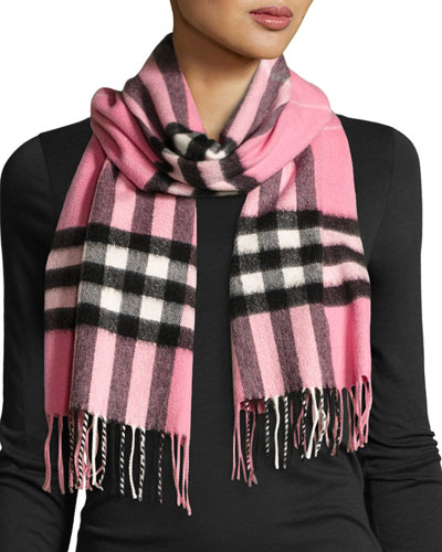 Giant Check Cashmere Scarf, Rose