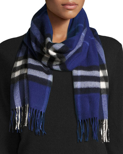 Giant Check Cashmere Scarf, Sapphire