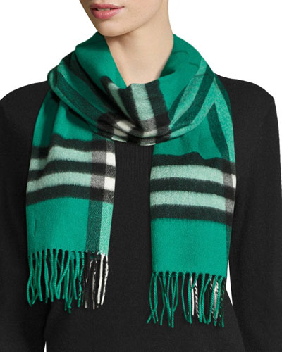 Giant Check Cashmere Scarf, Emerald