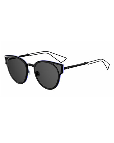 Sculpt Cat-Eye Sunglasses, Black/Gray