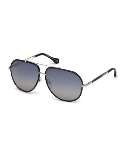 Leather-Trim Aviator Sunglasses, Black/Horn