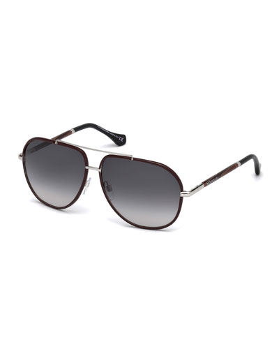 Leather-Trim Aviator Sunglasses, Red/Brown