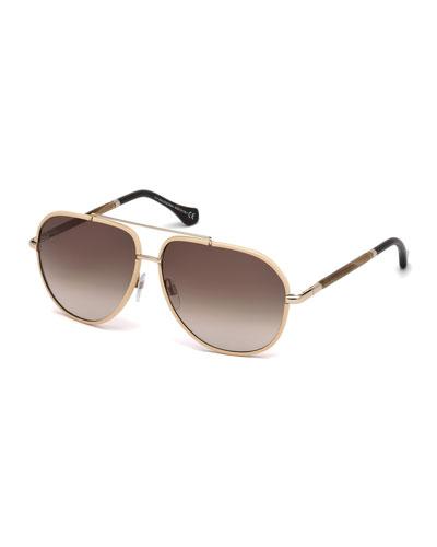 Leather-Trim Aviator Sunglasses, Nude/Horn