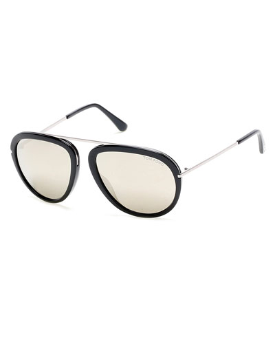 Stacy Flash-Lens Aviator Sunglasses, Black/Silver