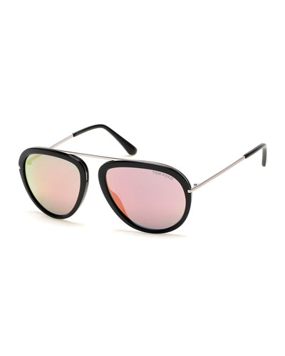 Stacy Flash Aviator Sunglasses, Black/Silver/Pink