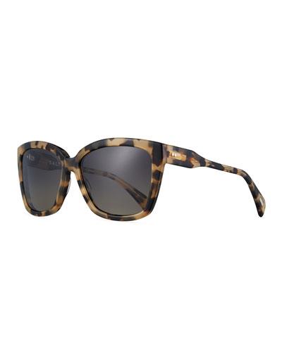 Alycia Polarized Square Sunglasses, Blue/Green