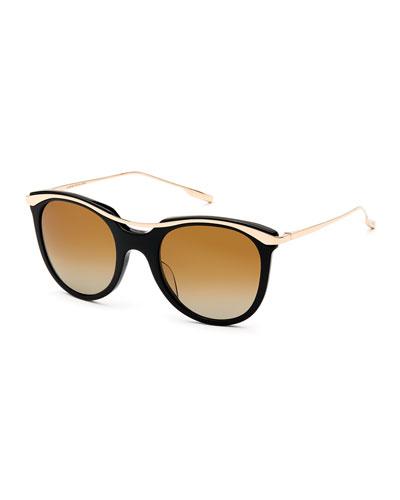 Elkins Rounded Square Polarized Sunglasses, Black/Gold