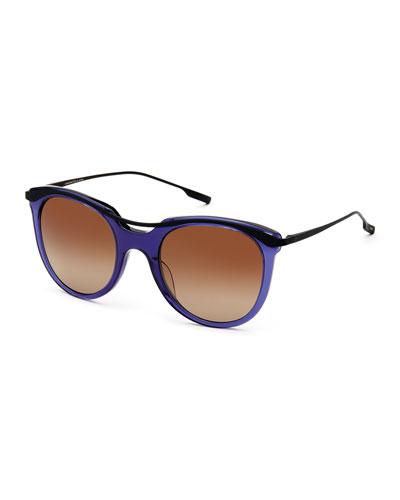 Elkins Rounded Square Polarized Sunglasses, Blue/Black