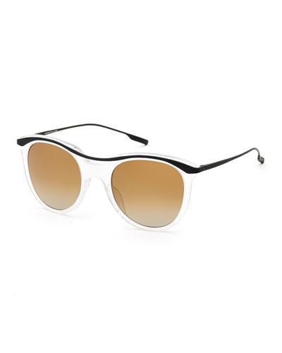 Elkins Rounded Square Polarized Sunglasses, White/Black