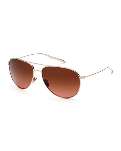 Francisco Polarized Aviator Sunglasses, Rose Gold