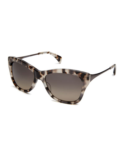 Milla Polarized Butterfly Sunglasses, White/Brown