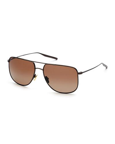 Odin Polarized Squared Aviator Sunglasses, Brown