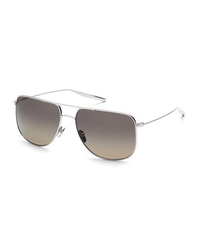 Odin Polarized Squared Aviator Sunglasses, Silver