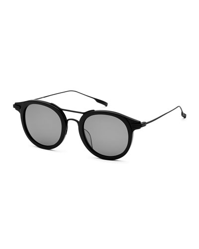 Taft Round Polarized Sunglasses, Black