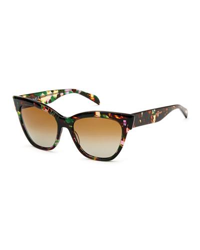 Winslett Polarized Cat-Eye Sunglasses, Tropical Flower