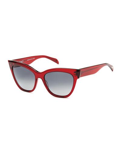 Winslett Polarized Cat-Eye Sunglasses, Berry