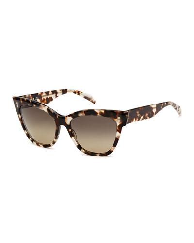 Winslett Polarized Cat-Eye Sunglasses, Bisque Havana