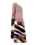 Long Suede & Mink Gloves, Blush/Multicolor