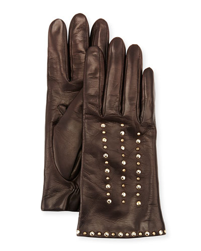 Studded Leather Gloves, Chocolate