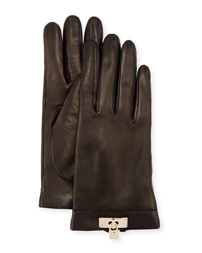 Leather Lock-Cuff Gloves, Black