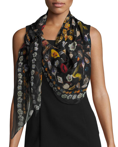 Obsessions Printed Silk Chiffon Scarf, Black/Multicolor