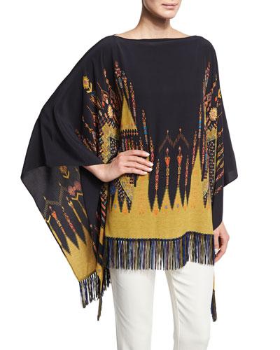 Geometric-Print Silk Poncho Top, Black/Gold