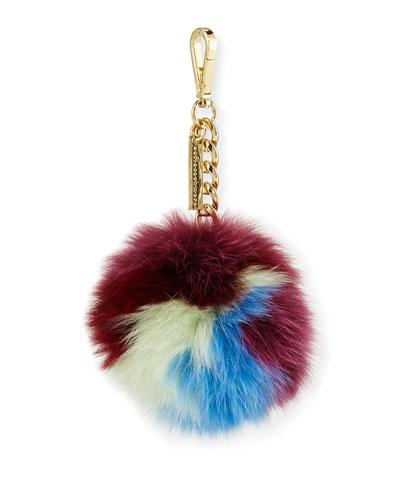 Fox Fur Pompom Bag Charm, Multicolor