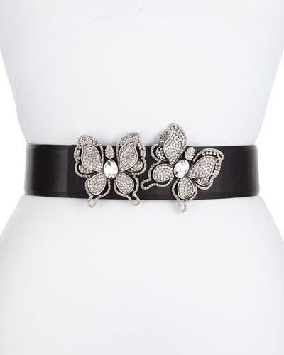Butterflies Leather Belt, Silver