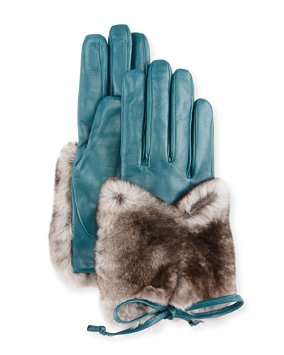 Leather & Rabbit Fur Gloves, Blue/Gray
