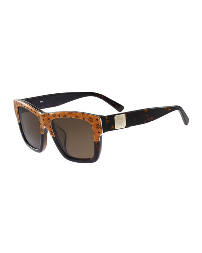 Square Universal-Fit Logo Sunglasses, Camel