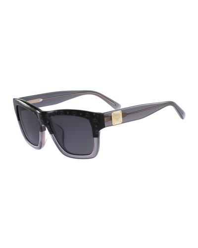 Square Universal-Fit Logo Sunglasses, Black