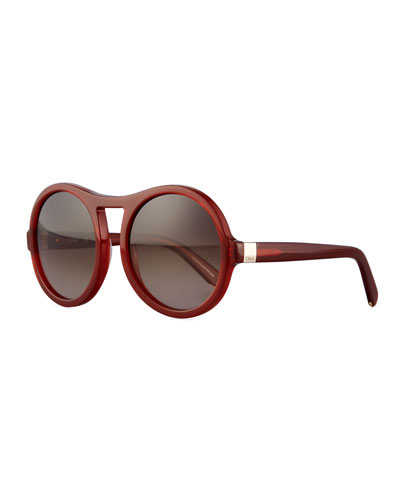 Marlow Round Gradient Sunglasses, Burnt