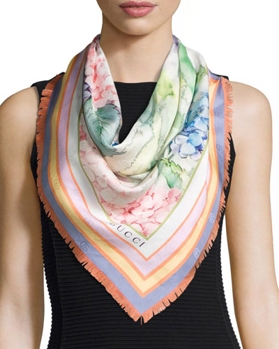 Silk Square Hydrangea Scarf, Multicolor