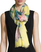 Hydrangea Cashmere & Silk Scarf, Yellow/Pink